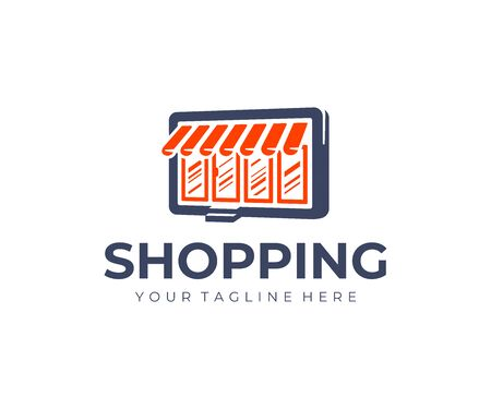 Online store logo design. E commerce vector design. Shop with awning and tablet logotype
