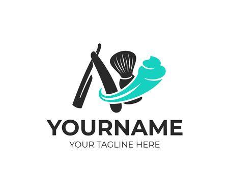Shaving, shaving brush and straight razor with shaving foam, logo design. Beauty salon, barber, barbershop and hairdresser, vector design and illustration Illustration