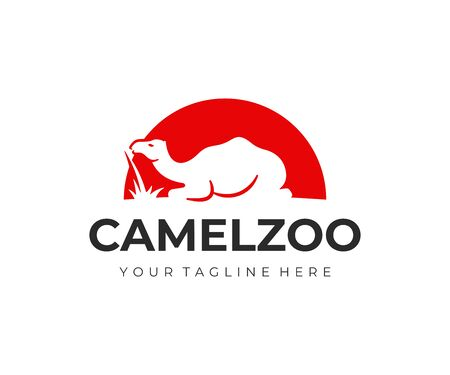 Camel on a background of the sun logo design. Camel sitting in desert vector design. Wild animal logotype  イラスト・ベクター素材