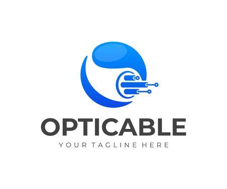 Design del logo del cavo in fibra ottica. Disegno vettoriale di connessione Internet. Logotipo di telecomunicazioni e networking