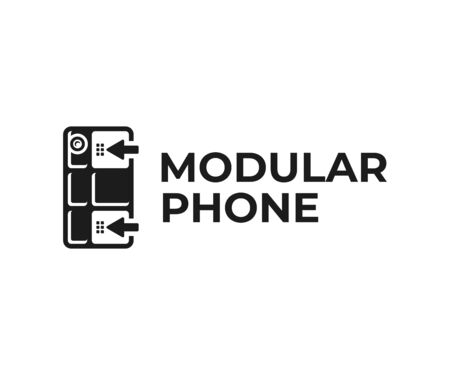 Customizable phone logo design. Modular smartphone vector design. Building blocks for phone logotype Illusztráció