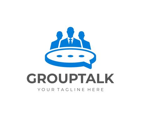 Business meeting logo design. Group of people at the table in the form of a speech bubble vector design. Business discussion logotype