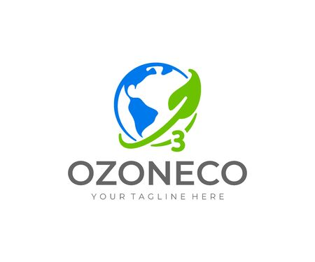 Ozone logo design. World ozone day vector design. Earth planet with ozone layer and leaf logotype Ilustrace