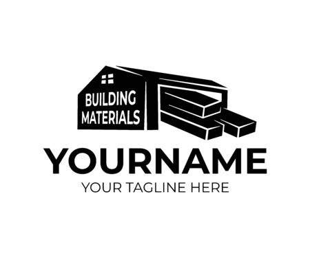 Building materials on storage or storehouse, logo design. Construction, sawmill and building materials store, vector design and illustration