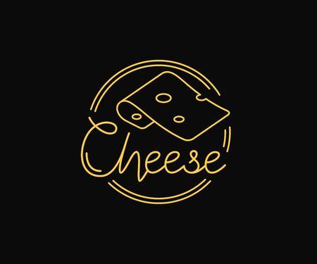 Cheese circle emblem logo design. Dairy product vector design. Cheese slice logotype Иллюстрация