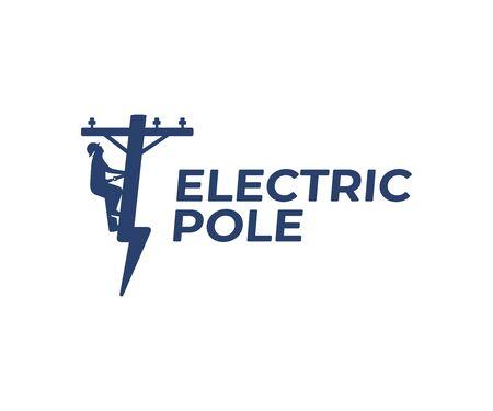 Diseño de logotipo de reparación de línea eléctrica. Diseño vectorial de liniero y rayo. Logotipo de poste eléctrico en forma de rayo