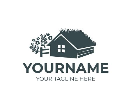 Farm home with grass on roof or green roof, fence and herbs, logo design. House or home rustic, rural scene and countryside, vector design and illustration
