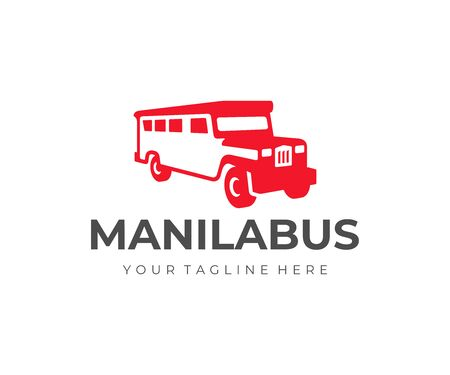 Jeepney bus logo design. Philippines public transportation vector design. Filipino jeepney car logotype Illustration