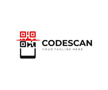 QR code scanning logo design. QR code scanner on smartphone vector design. Quick response code logotype Stock Illustratie