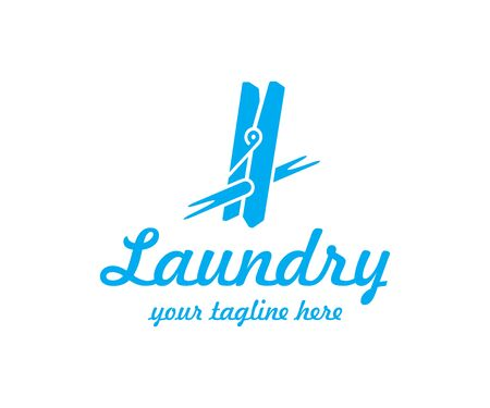 Clothespin for drying clothes logo design. Clothes peg and rope vector design. Laundry clip logotype