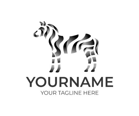 Zebra and zebra abstract, logo design. Animal, wildlife, ribbon geometric style, vector design and illustration