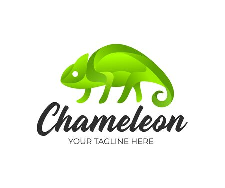 Chameleon and chameleon abstract in ribbon geometric style, logo design. Animal, colorful lizard and reptile, vector design and illustration