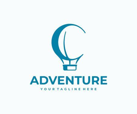 Heißluftballon-Logo-Design. Luftballon mit Korbvektordesign. Logo für den Luftverkehr