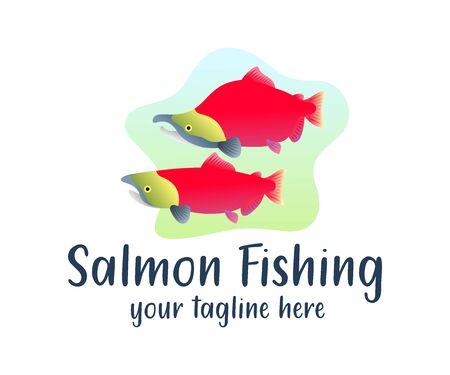 Sockeye salmon fish underwater in river, illustration and logo design. Animal, nature and fishing, vector design