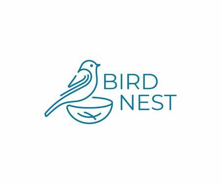 Bird with nest logo design. Bird watching vector design. Birding logotype Logo