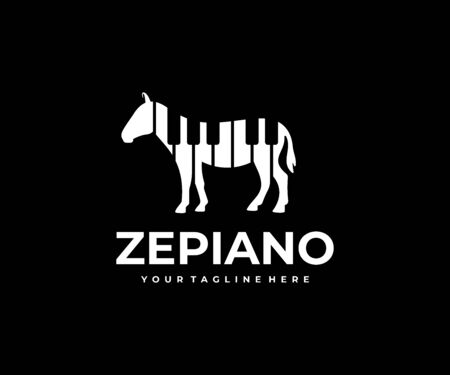 Zebra with stripes in the form of piano keys logo design. Animal with black and white stripes vector design. Abstract zebra logotype