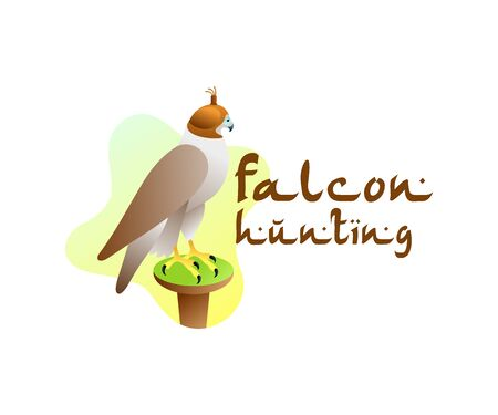 Arab falconry, falcon and falcon hunting, illustration and logo design. Bird, animal, predator and hunt, vector design