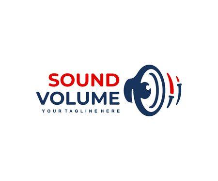 Subwoofer logo design. Audio speaker with sound volume adjustment vector design. Sound column logotype