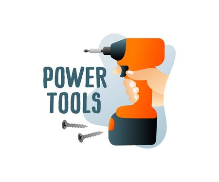 Construction power tools and cordless tools with screws, illustration and design. Holds in hand cordless electric screwdriver, contractor and builder, vector design Ilustração