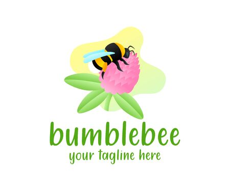 Bumblebee sits on a clover flower, illustration and logo design. Insect, animal, nature and plant with leaves, vector design