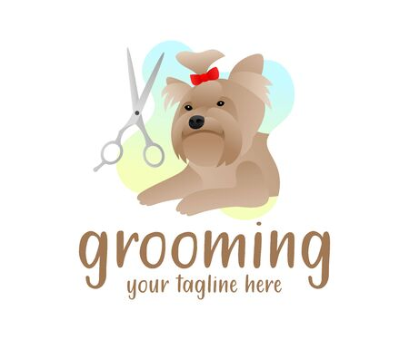 Grooming, dog with hairdressing scissors