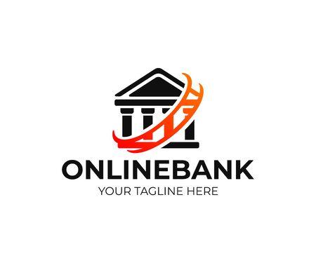 Online banking, logo design. Bank, internet banking, finance and financial, vector design and illustration