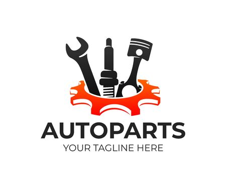 Autoparts in gear, auto piston, spark plug and wrench, logo design. Automotive parts, automobile detail and repairing car, vector design and illustration