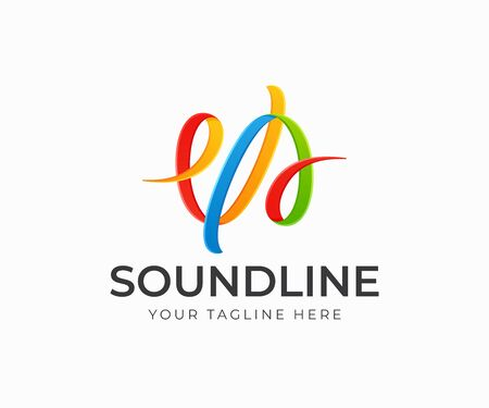 Colorful sound wave logo design. Sound wave from colored ribbons vector design. Colorful strokes logotype