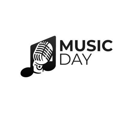 Music, musical note and retro microphone, logo design. Sound, melody and song, vector design and illustration