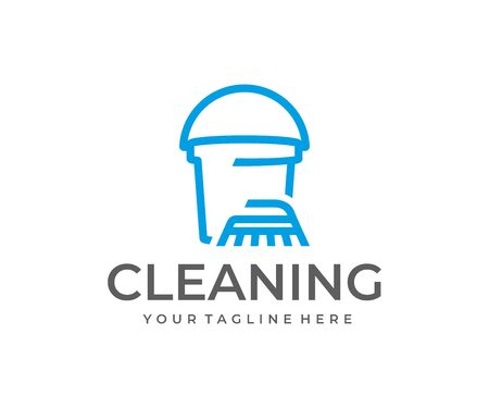 House cleaning service logo design. Cleaning brush and bucket vector design. Washing logotype