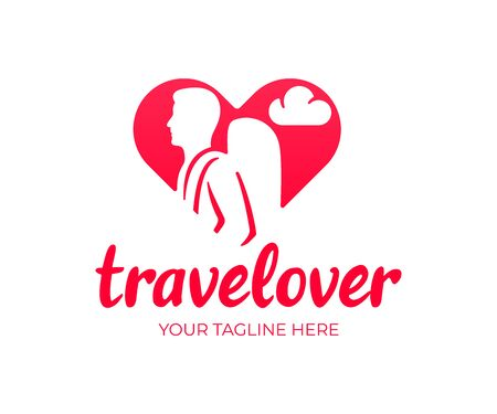 Travel lover, tourist with a backpack in the heart, logo design. Tourism, journey and traveling, vector design and illustration