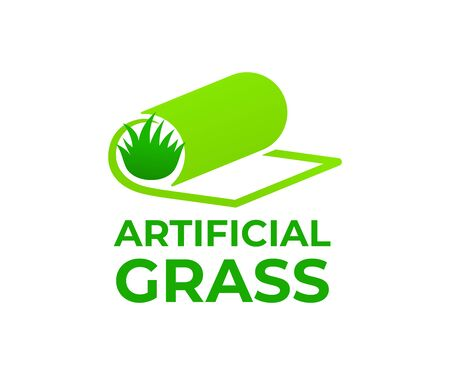 Artificial grass or turf in roll, logo design. Carpeting artificial grass and landscaping, vector design and illustration Ilustração
