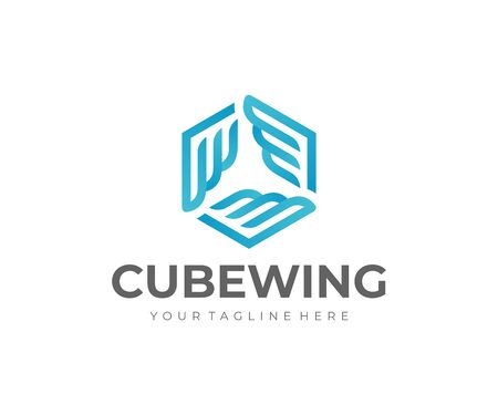 Cube with wings logo design. Logistics box vector design. Delivery logotype
