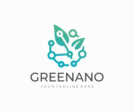 Green technology logo design. Biotechnology vector design. Leaves with circuit logotype Иллюстрация