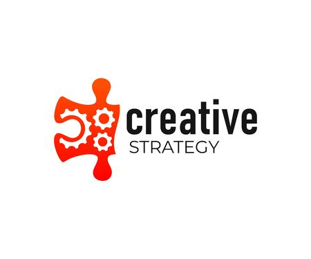Puzzles and gears, strategy and financial planning, logo design. Engineering, innovation and technology, vector design and illustration