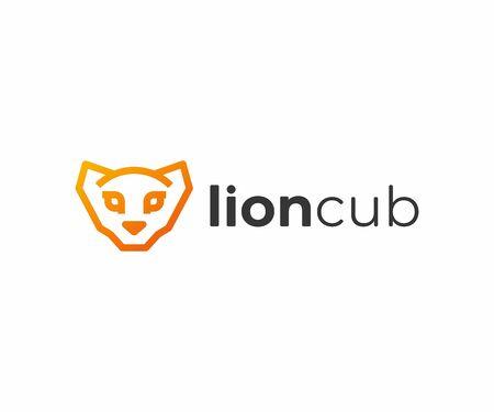 African lion cub  design. Linear lion head vector design.