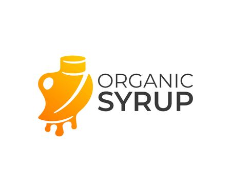 Organic syrup, bottle with syrup and leaf with drops,  design. Food, pure maple syrup and nutrition, vector design and illustration