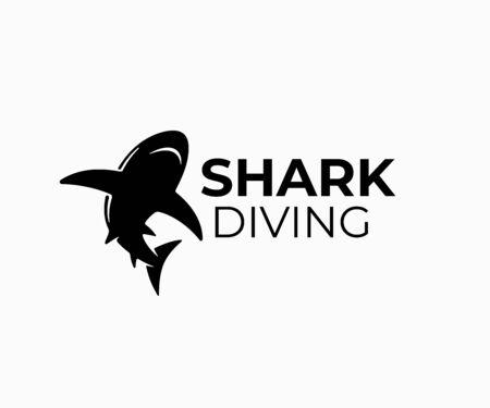 Shark, fish and diving design. Animal, predator, underwater life and aquarium, vector design and illustration