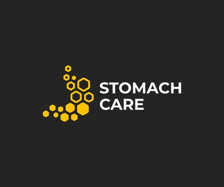Honey treatment for stomach design. Honeycomb stomach vector design. Gastrointestinal tract treatment