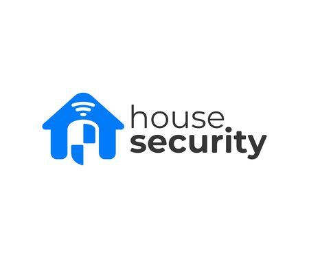 Home protection wireless system logo design. House monitoring and security system vector design. Remote home control or home automation system logotype