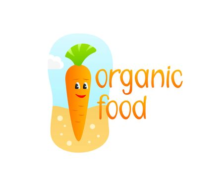 Organic food, carrot in the ground cartoon character, illustration. Vegetables, vegetarian meal and nutrition design and vector design