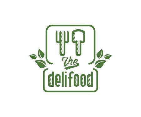 Deli food, fork and spoon design. Restaurant, catering, bistro and fast food, vector design and illustration Illustration