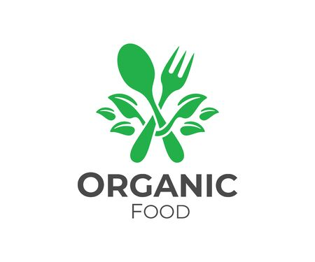 Organic food, fork and spoon with leaves design. Restaurant, catering, bistro and fast food, vector design and illustration