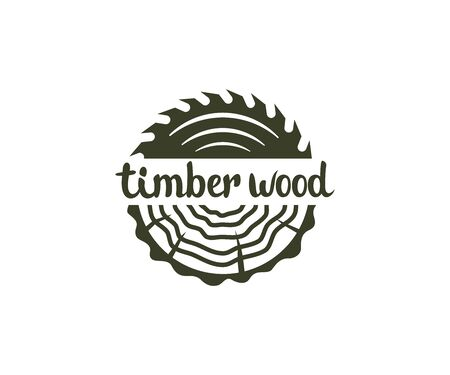 Circular saw wood, timber wood with tree rings, logo design. Lumber, industrial wood and wood in nature, vector design and illustration