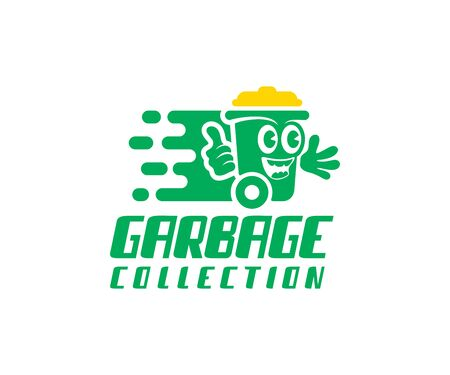 Garbage collection, bin washing and bin cleaning, logo design. Cleaning, recycling and garbage sorting, vector design and illustration Ilustração