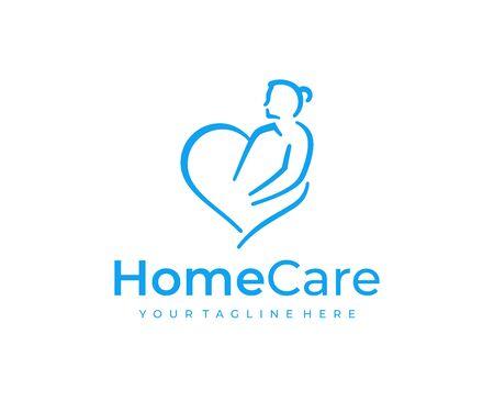 Home healthcare logo design. Elderly care vector design. Heart and senior woman logotype Ilustração