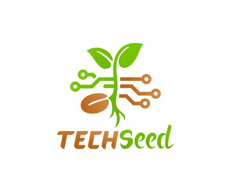 Technology and innovation in agriculture, logo design. Plant and seed in electrical circuit, vector design and illustration 일러스트