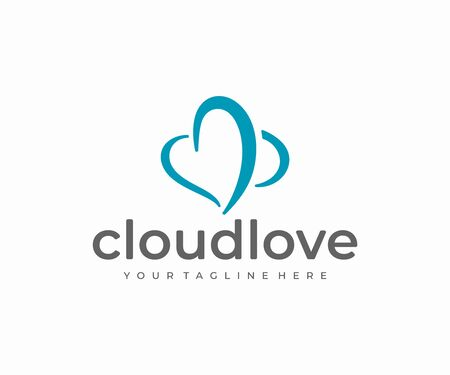 Cloud shaped heart logo design. Blue sky with love symbol vector design. Love cloud logotype Ilustracja