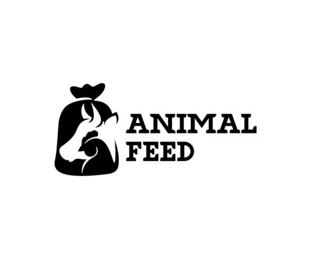 Animal feed and pet food, cow, chicken in burlap pouch sack bag, logo design. Food for cattle, livestock, farm, vector design and illustration