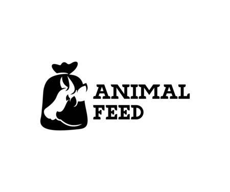 Animal feed and pet food, cow, pig in burlap pouch sack bag, logo design. Food for cattle, livestock, farm, vector design and illustration